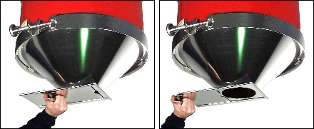 Stainless steel drum cone with slide gate to control pouring